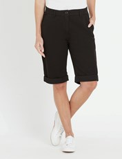 NONI B FLY FRONT CHINO SHORT BLACK