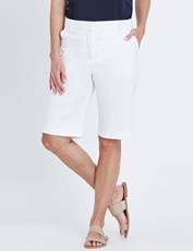 NONI B K/L FLY FRONT SATEEN SHORT WHITE