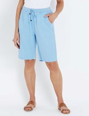NONI B K/L RIBBED WAIST LINEN SHORT LITTLE BOY BLUE