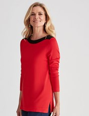 NONI B LONG SLEEVE BOAT NECK ZIP JUMPER barbados cherry