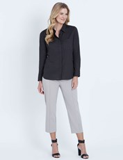 NONI B LONG SLEEVE DOBBY SPOT SHIRT EBONY