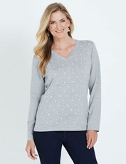 NONI B LONG SLEEVE EMBROIDERED SPOT JUMPER GUNMETAL