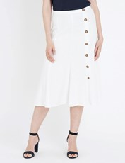 NONI B MIDI ALINE LINEN BUTTON SKIRT WHITE