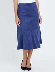 Noni B Midi Suede Fit And Flare Skirt royal blue