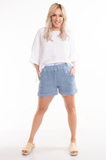 The Italian Cartel Asti Linen Shorts - Denim