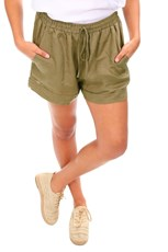 Cali & Co Casual Linen Shorts - Khaki - CC12