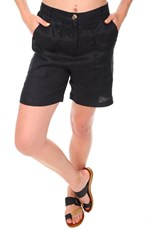 See Saw Linen Mid Shorts - Black
