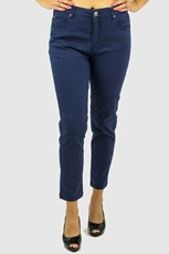 Cafe Latte Stretch Zip 7/8 Jeans - Navy