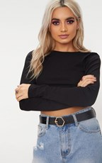 Pretty Little Thing Black Basic Hexagon Buckle Belt