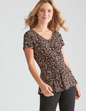 Rockmans Cap Sleeve Floral Twist Front Top FLORAL