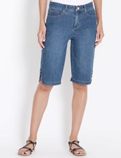 Rockmans Knee Length Ring Detail Denim Short mid wash