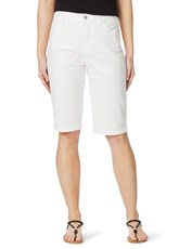 Rockmans Knee Length Solid Colour Short white