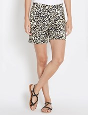 Rockmans Mid Thigh Cuffed Hem Print Short LEOPARD MULTI