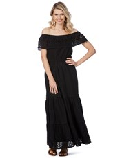 Rockmans Short Sleeve Embroidered Maxi Dress black