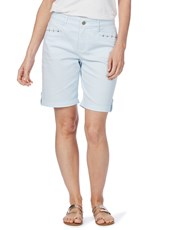 Rockmans Striped Denim Short blue stripe
