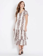 Table Eight Cap Sleeve Snake Print Midi Dress MULTI