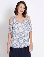 Table Eight ELbow Sleeve Santorini Ruffle Blouse multi