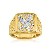 8 Diamonds Eagle Mens Ring in 9ct Yellow Gold