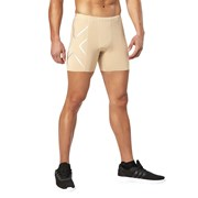 2XU Compression Mens Half Shorts - Beige/Silver