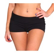 Rhapso Designs Fold Over Womens Shorts - Black