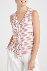 Sportscraft Solmar Stripe Top White/Red