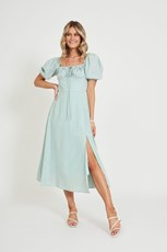 Pink Diamond Agnessia Midi Dress in Sage Cotton