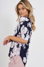 Caroline Morgan Bernice Top in Navy with Blush Floral