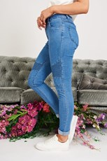 Country Denim Worldly Biker Jeans in Pale Denim Wash