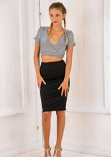 Stelly Light it up crop top - Silver SALE
