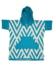 Blem Beach Accessories Zig Zag Turquoise Kids Poncho Turquoise Turquoise