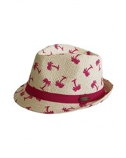Sundaise Hot Pink Palm Fedora Natural