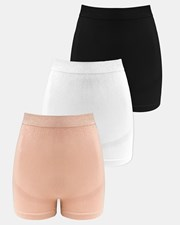 B Free Intimate Apparel 3-Pack Maternity Boyleg Shorts Black White Nude