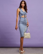 Dazie All Eyes On You Midi Dress Blue