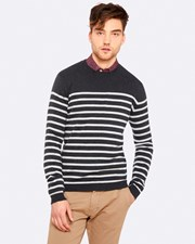 Oxford BRADEN STRIPED CREW NECK KNIT Grey