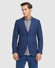 Oxford Blake Wool Blend Checked Blazer Blue