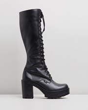 ROC Boots Australia Lash Leather Platform Boots Black