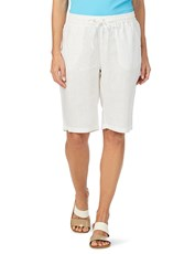 W.Lane Webbing Trim Linen Short WHITE