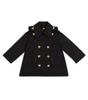 Burberry Kids Hooded cotton twill trench coat black P00529017