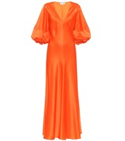 Lee Mathews Exclusive to Mytheresa - Silk-satin midi dress orange P00474827